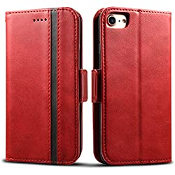 """Rssviss Housse iPhone 6/7, Etui pour iPhone 6/6s/7/8 en Cuir PU Portefeuille Universel [4 emplacements pour Cartes et Monnaie] avec [Fermeture magnétique] Coque iPhone 6/6s/7/8 Carte Rabat 4,7"""" Rouge"""