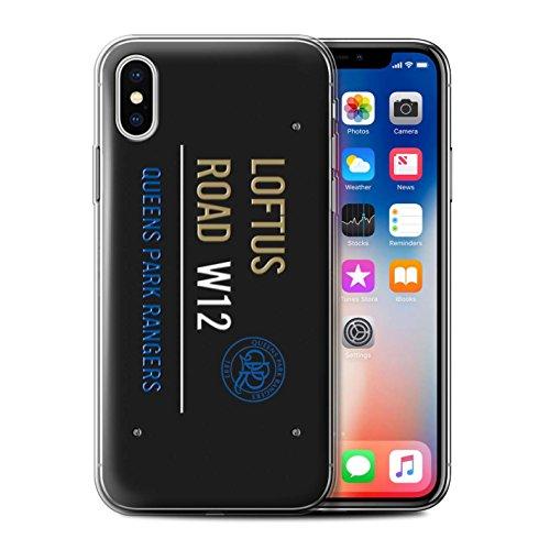 Officiel Queens Park Rangers FC Coque / Etui Gel TPU pour Apple iPhone X/10 / Noir/Blanc Design / QPR Loftus Road Signe Collection Noir/Or