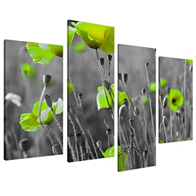 Large Lime Green Flowers Floral Kitchen Canvas Wall Art Pictures 4138