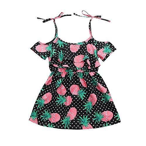 JUTOO Kleinkind-Säuglingsbaby-Kleid-Ananas-Punkt-Druck kleidet Kleidungs-Outfits (Schwarz,110)