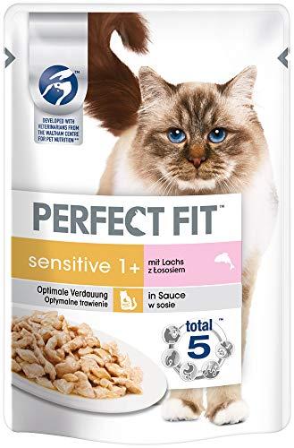 Perfect Fit Katzenfutter Nassfutter Sensitive Adult 1+ mit Lachs in Sauce, 12 - Sensitive Perfect Katzenfutter Fit