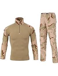 LANBAOSI Chemise de Combat Militaire Homme Uniforme Tactique Séchage Rapide  à Manches Longues   Pantalon Costume 1f496731511