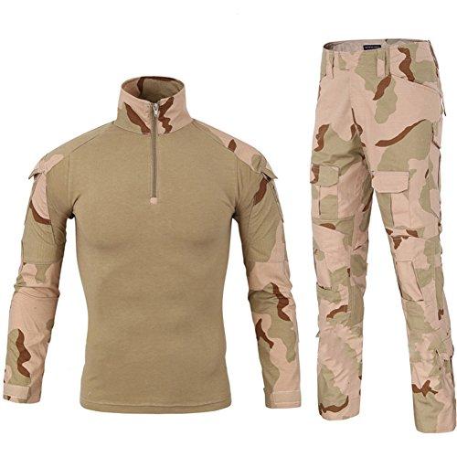 LANBAOSI Chemise de Combat Militaire Homme Uniforme Tactique Séchage Rapide à Manches Longues & Pantalon Costume Tenues de Combat Pantalon Militaire Paintball Beige Medium