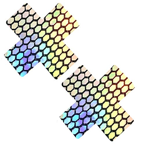 Neva Nipztix Brustwarzenaufkleber, verspiegelt, mit X-Faktor, silberfarben