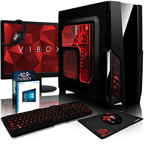 VIBOX Pyro GS450-92 Paquet Gaming PC - 4,0GHz CPU 4-Core AMD, GPUGTX1050, Avanzado, Multimedia, Altorendimiento, Ordenador de sobremesa para oficina Gaming vale de juego, con monitor, Windows10, Iluminaciàninterna rojo (3,8GHz (4,0GHz Turbo) Procesador CPU Quad 4-Core AMD FX 4300, Nvidia GeforceGTX1050 2 GB TarjetagráficaGPU, 8 GB Memoria RAM de DDR3, velocidad de RAM: 1600MHz, 1TB(1000GB)SataIII7200 rpmdiscoduroHDD, Fuente de alimentaciàn de 85+, CIT de Storm cajaRojo)