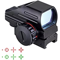 Iron JIA Airsoft táctico Multi-óptico Recubierto holográfico Punto Rojo y Verde Vista Reflex 4 Diferentes retículas