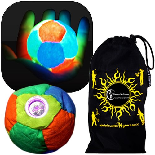LED Glow Hacky Sack  12 Panel  Pro Glow LED Light Up Freestyle Footbag  Ultra Bright nigth time Hacky Sacks   Flames N Games Travel Bag