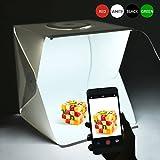 Photo Studio , 16 pouces Portable Mini Photo Studio Lightbox Kit avec 2pcs 6000K White LED Strips, pliable LED Light Tent + avec 4 Fonds(Rouge,Vert,Blanc et Noir)