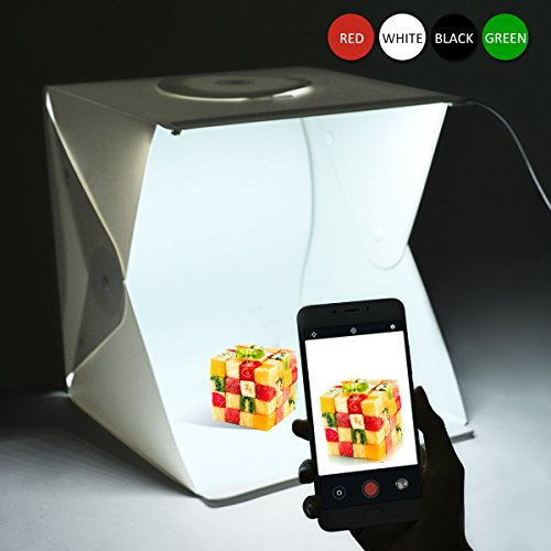 Photo Studio , 16 pouces Portable Mini Photo Studio Lightbox Kit avec 2pcs 6000K White LED Strips, pliable LED Light Tent + avec 4 Fonds(Rouge,Vert,Blanc et Noir)