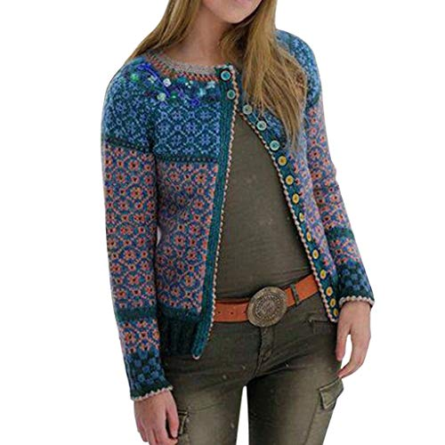Damen Cardigan Kurz Winter Multicolor Print Knöpfe Lace Cardigan Langarm Langmantel