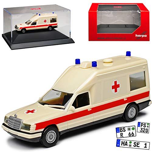 Mercedes-Benz Miesen E-Klasse W124 KTW Transporter Krankenwagen Rettungswagen 1977-1995 mit Sockel und Vitrine H0 1/87 Herpa Modell Auto mit individiuellem Wunschkennzeichen