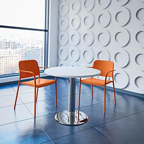 Optima runder Besprechungstisch Ø 80 cm Weiß Verchromtes Gestell Tisch Esstisch