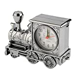 ningbao771 Vintage Unique Eye-Catching Artistic Train Shaped Alarm Clock for Household Shelf Decoration with Quartz Movement