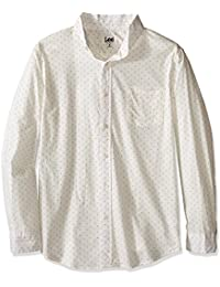 Lee Men's Big and Tall Long Sleeve Single Pocket Button up Printed Shirt