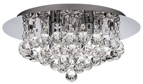 Modern 4 Light Crystal Flush Light with chrome Backplate and Requires 4 x 33watt max Halogen Lamps -3404-4CC - Hanna