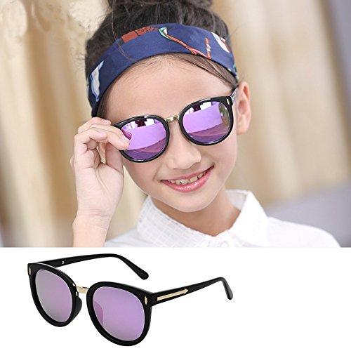 Sunyan Neue Kinder Bunte reflektierende Polarisierte Sonnenbrillen Gläser Mode große 5-14 Jahre altes Kind Kind, schwarzen Rahmen Lila
