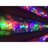 Flashing blue Happy 40th Birthday banner decoration FREE DELIVERY