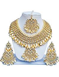 Lucky Jewellery Golden Alloy Kundan Necklaces Set With Mang Tikka