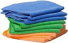 Paquete de 9 paños de microfibra - paños de limpieza 40 x 40 cm. De alta calidad para el hogar, cocina, bano y auto interior. Plumeros, paño de cocina, raya-libre, suave, hilas. 3 colores.
