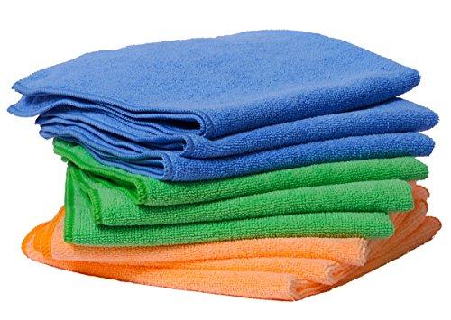 9x Microfasertuch – Reinigungstuch, 40x40cm premium Qualität für Haushalt, Küche, Bad, Auto und Felgen! Reinigungstücher, Microfasertücher, Putztücher, fusselfrei, streifenfrei und weich. 3 Farben. (3 X Bad)