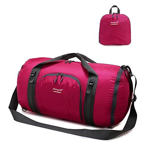 Reise-Rucksäcke Duffle-Taschen für Männer & Frauen, faltbare große Schulter Totes Geldbörse Wochenende Taschen für Wandern Gym Sport (Rot) (Nylon Bag Tote Kurze)