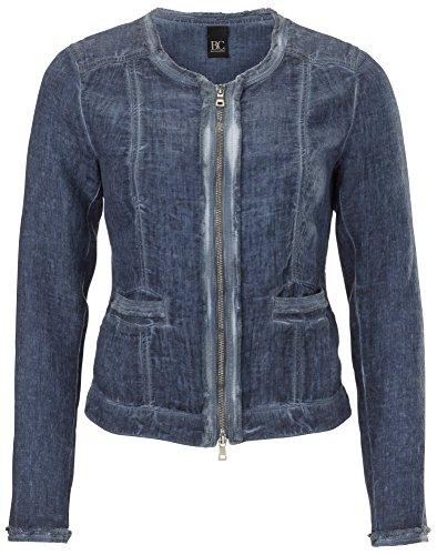 Blazer Leinen Damen Jacke kurz leicht Used-Look B.C. jeans blau Gr.40 (Leinen-look-jacke)
