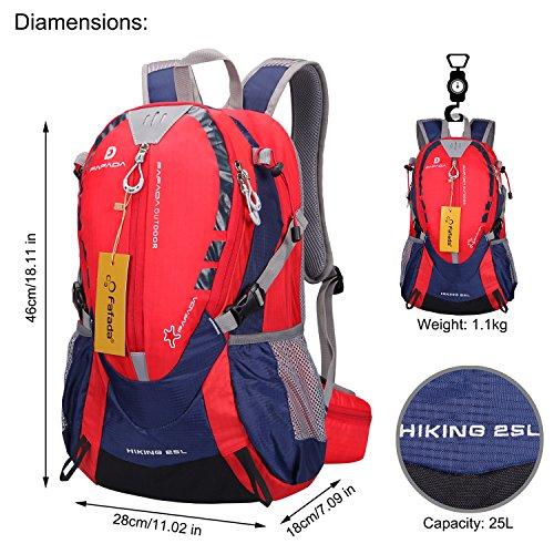Imagen de fafada 25l unisex  de senderismo viaje marcha del deporte casual escalada trekking con cubierta de lluvia impermeable roja alternativa