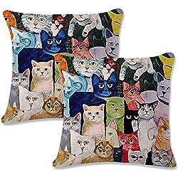 JOTOM Funda de Almohada con Forma de Flor de Lino de algodón Funda de Cojines Cuadrados para sofá sofá Decorativo para casa 45 x 45 cm, Juego de 2 (Gato 1)