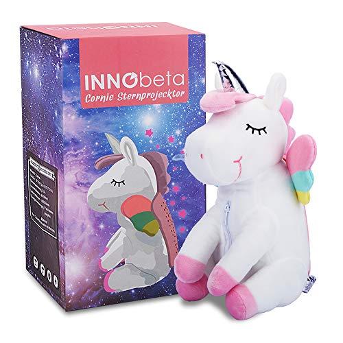 Einhorn Kuscheltier Sternenhimmel Projektor Nachtlicht für Kinder und Baby, Plüschtier Stofftier Deko Sachen Einschlafhilfe Spielzeug Geschenke für Mädchen InnoBeta Cornie