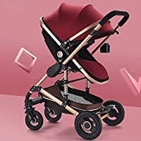 Heay Stroller, Infant Baby Stroller For Newborn And Toddler, Multifunctional Highview Baby Carriage, Foldable Anti-shock Pushchair, Infant All Terrain Jogging (Color : Red)