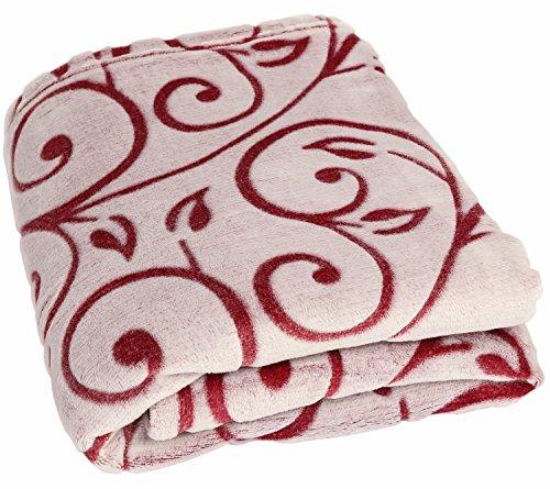 Betz Kuscheldecke Wohndecke Tagesdecke Rankenmuster Größe 140 x 190 cm Super Soft seidig weichen Griff Farbe Rot