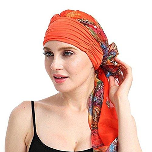 URSING Damen Baumwolle Kopftuch Bandana Hat Fur Haarverlust Frauen Indien Muslim Elastic Turban Chiffon Drucken Long Tail Hut Kopftuch Wrap Kopfbedeckung Schal Mützen Headscarf (B)