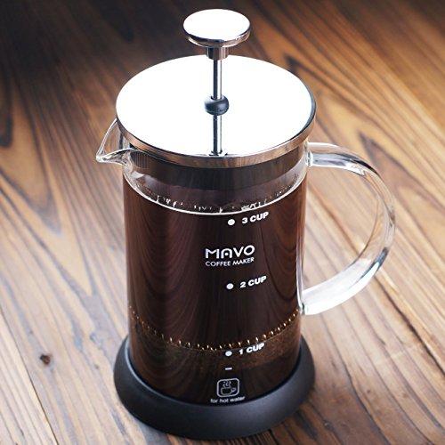 Decen Cafetière Cafetière à piston 6 tasses à thé Presse Pot de café en acier inoxydable, Acier inoxydable, 600 ml