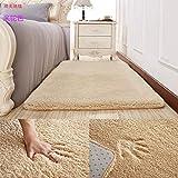 OR&DK Moderne Dick Plüsch Fußmatten, Bett Bett Runner Schlafzimmer Wohnzimmer Teppich Rutschfest Robust und warm-B 120x200cm(47x79inch)