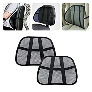 2Pcs Lumbar Support Cool Vent Cushion Mesh Back Lumbar Support New Pillow for Car Office Chair Truck Seat Black