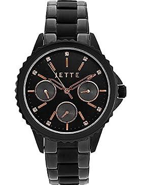 JETTE Time Damen-Armbanduhr Prime Time I Analog Quarz One Size, schwarz/rosé, schwarz