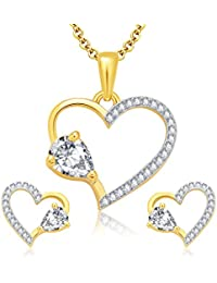 Sukkhi Darling Gold And Rhodium Plated CZ Pendant Set For Women