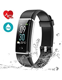 LATEC Fitness Tracker Uhr mit Pulsmesser, Smart Armbanduhr Wasserdicht IP68