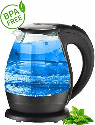 Glas Design Wasserkocher blaue LED Innen Beleuchtung 2.000 Watt 1,5 Liter
