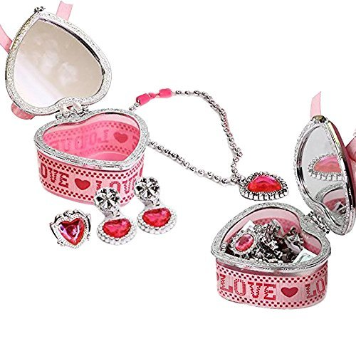 Toy Cubby Kids Pink Heart Shaped Design Jewelry Box with Mirror on cover and Heart Necklace, Ring and Earrings Cubby-boxen