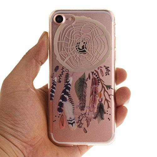 iPhone 8 Hülle,iPhone 7 Hülle,Handyhülle iPhone 8 / 7 Schutzhülle,ikasus® TPU Silikon Schutzhülle Case Hülle für iPhone 8 / 7,Durchsichtig mit Bunte Kunst Gemaltes Muster Handyhülle iPhone 7 Silikon H Bunte Feder Campanula