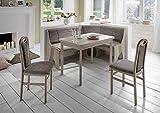 Truhen-Eckbankgruppe Thaua - Eiche Sonoma Dekor 2 Stühle und 1 Vierfußtisch - Bezug grau beige - variabel aufbaubar