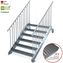 Anstellh/öhe variabel von 216 cm bis 260 cm Au/ßentreppe 13 Stufen 60 cm Laufbreite ohne Gel/änder Gitterroststufe ST2 feuerverzinkte Stahltreppe mit 600 mm Stufenl/änge als montagefertiger Bausatz
