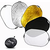 Reflector de Luz, Zecti 5 en 1 Plegable Reflector Multi disco Fotográfica de 40x59 Pulgadas/100*150cm (Translúcido, Oro, Plata, Blanco y Negro)