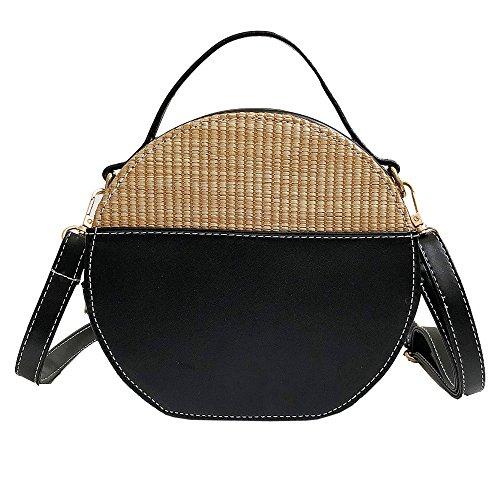 Borsa Paglia Donna Rotonda Mambain Moda Eleganti Casual Retro Borse A Tracolla Crossbody Bag Per Ragazza