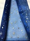 Générique Tissus Bleu Organza Etoiles Or Argent Noel au mètre Nappe Chemin de Table déco Largeur 150 cm