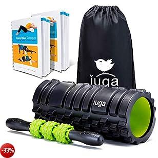 IUGA, set 2 in 1 con rullo in schiuma e massaggi, terapia del punto trigger, rilascio miofasciale, rullo muscolare per allenamento, crossfit, yoga e pilates