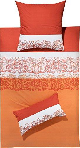 REDBEST Bettwäsche Renforcé orange-weiß Größe 155x220 cm (80x80 cm)
