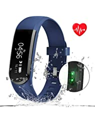 Kainuoa Bracelet De Sport Etanche Bracelet Fréquence Cardiaque Et Sommeil Tracker D'activité Podomètre Avec Télécommande Musique Appel SMS Notification Push Pour IOS Android