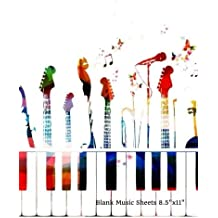 "Blank Music Sheets 8.5""x11"": Colorful Keys Music Manuscript 